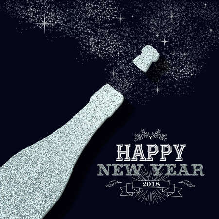 Illustration for Happy new year 2018 luxury champagne bottle made of silver glitter sparkle. Ideal for greeting card or elegant holiday party invitation. EPS10 vector. - Royalty Free Image