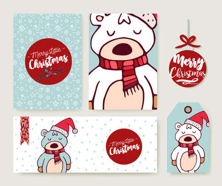 Illustration pour Merry Christmas greeting card set with cute bear in santa hat hand drawn cartoon. Includes holiday themed template, tag and label. EPS10 vector. - image libre de droit