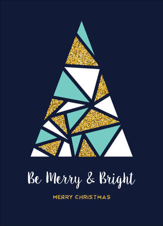 Illustration for Merry Christmas gold luxury holiday greeting card. Abstract xmas pine tree made of golden glitter texture. - Royalty Free Image