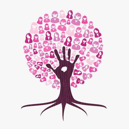Ilustración de Breast cancer awareness month concept illustration for help and support. Tree made of pink helping hand. EPS10 vector. - Imagen libre de derechos
