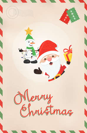 Illustration pour Merry Christmas vintage greeting card illustration. Retro style postcard from north pole with cute santa claus and snowman cartoon. EPS10 vector. - image libre de droit