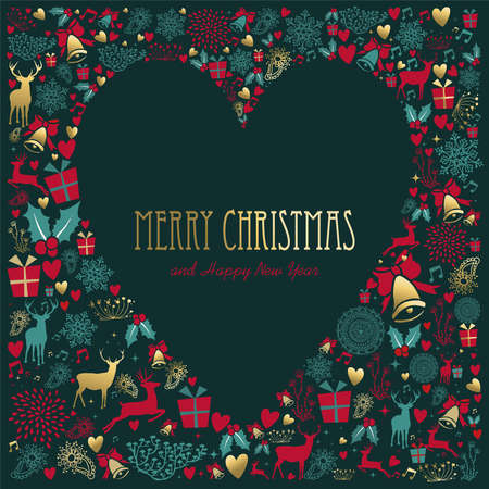 Illustration for Merry Christmas and New Year vintage decoration with gold deer and holiday ornaments in heart shape. - Royalty Free Image