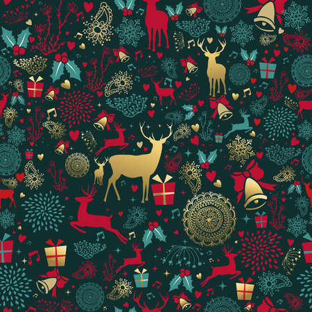 Illustrazione per Merry Christmas seamless pattern with gold deer and vintage decoration for holiday season background. EPS10 vector. - Immagini Royalty Free