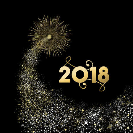 Happy New Year 2018 gold number typography greeting card with fireworks explosion in night sky.