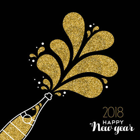 Illustrazione per Happy new year 2018 gold champagne bottle celebration made of golden glitter. - Immagini Royalty Free