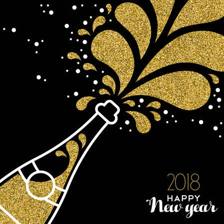 Illustrazione per Happy New Year 2018 greeting card illustration of champagne party bottle with gold glitter splash. - Immagini Royalty Free