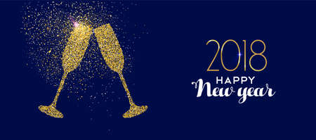 Ilustración de Happy new year 2018 gold champagne glass celebration toast made of realistic golden glitter dust. - Imagen libre de derechos