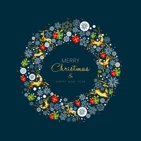 Illustration pour Merry Christmas New Year modern luxury greeting card with gold color Christmas decoration and holiday ornaments in wreath shape. - image libre de droit