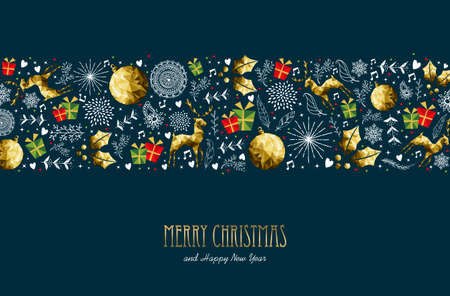 Illustration for Merry Christmas pattern greeting card with text quote typography for new year holidays. - Royalty Free Image
