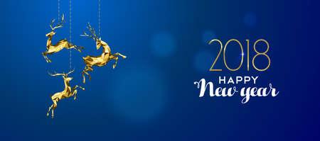 Ilustración de Happy new year 2018 message with gold low poly reindeer decoration on blur illustration. - Imagen libre de derechos