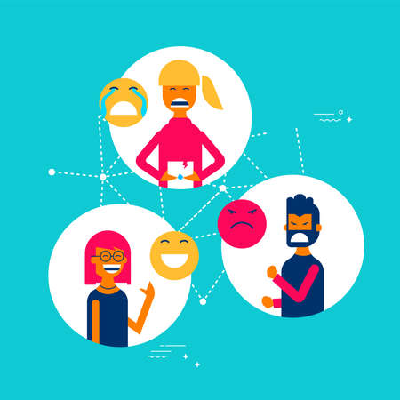 Illustration pour Social media reactions concept illustration in modern flat art style, group of people using different emoji to express their emotions and feelings. - image libre de droit
