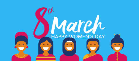 Illustration pour Women's Day on 8th of March illustration with group of ethnic women in traditional clothing for diverse worlwide celebration. - image libre de droit