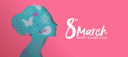 Illustration for Happy Women Day holiday illustration. Paper cut girl head silhouette cutout with hand drawn spring and flower doodles. - Royalty Free Image
