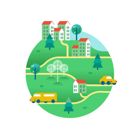 Ilustración de Eco friendly world with public transport, electric cars, solar panels on houses and wind turbines. Environment conservation concept illustration in modern flat art style. EPS10 vector. - Imagen libre de derechos