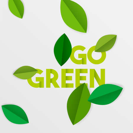 Ilustración de Go green typography quote with paper cut tree leaves. Environment care text sign for conservation and awareness. EPS10 vector. - Imagen libre de derechos