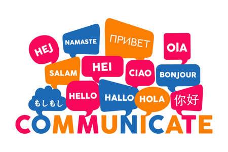 Ilustración de Chat bubbles with different foreign languages hello word, concept illustration for translation idea or international communication. EPS10 vector. - Imagen libre de derechos