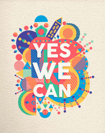 Illustration pour Yes we can colorful typography poster. Inspirational motivation quote design with paper texture background. EPS10 vector. - image libre de droit