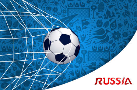 Illustration pour Russia illustration with football goal and traditional russian culture background. - image libre de droit