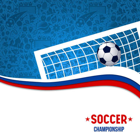 Illustration pour Soccer game illustration for event with football goal post and traditional background in russian colors. - image libre de droit