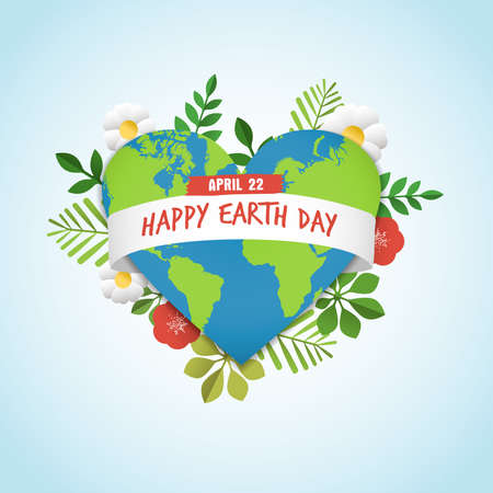 Illustration pour Happy Earth Day greeting card of green planet in heart shape with nature decoration. Includes leaves, flowers and world map for eco friendly celebration. EPS10 vector. - image libre de droit