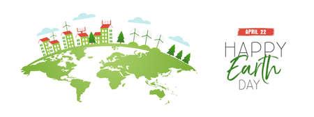 Ilustración de Happy Earth Day web banner illustration with green planet and houses using clean energy. - Imagen libre de derechos