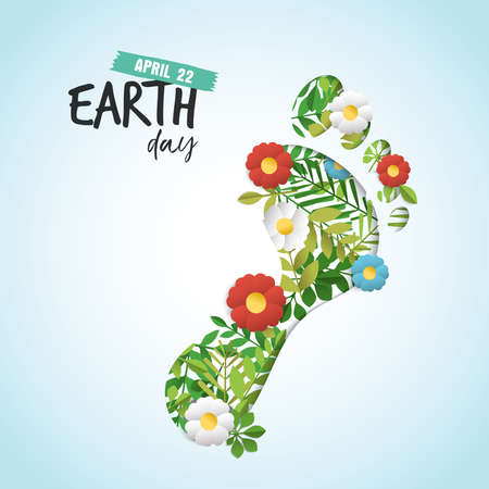 Ilustración de Happy Earth day paper art cutout illustration for eco friendly celebration. Human feet with green leaves and flowers, environment conservation awareness. Carbon footprint reduction concept. EPS10 vector. - Imagen libre de derechos