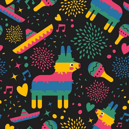 Ilustración de Mexican seamless pattern of colorful mexico culture icons for holiday party or special event. Includes cute pinata, mariachi hat, maracas and hand drawn decoration. EPS10 vector. - Imagen libre de derechos