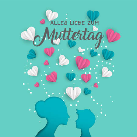 Ilustración de Happy Mothers day holiday greeting card illustration in german language. Pink paper cut mom and little boy silhouette cutout with 3d heart shape papercraft. - Imagen libre de derechos