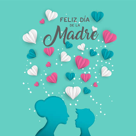 Illustration pour Happy Mother's day holiday greeting card illustration in Spanish language. Pink paper cut mom and little boy silhouette cutout with 3d heart shape paper craft vector. - image libre de droit