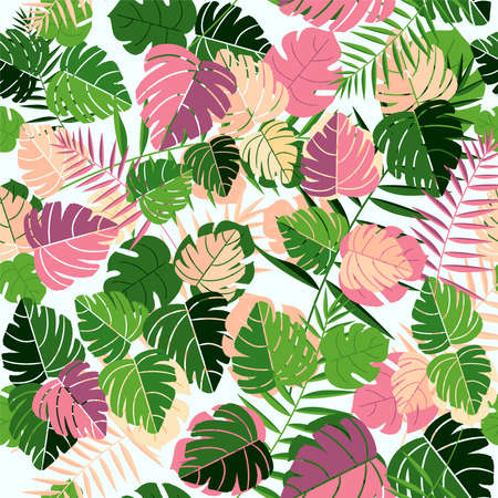 Illustration pour Tropical palm tree leaves seamless pattern background with hand drawn retro style jungle leaf decoration. - image libre de droit