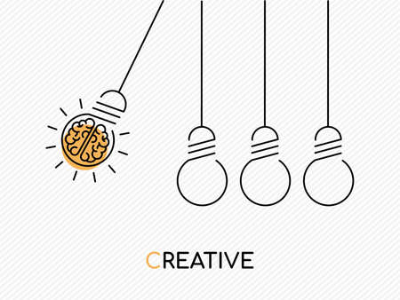 Illustrazione per Creative idea concept illustration in modern outline design with human brain as electric light bulb. - Immagini Royalty Free
