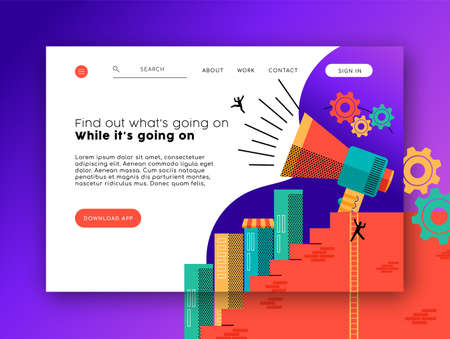Illustration pour Web landing page template for news app and social network. Modern style internet layout with flat illustration background. - image libre de droit