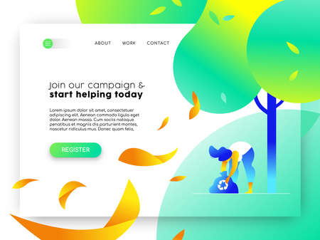 Ilustración de Landing page for environmental community campaign. Online internet template with illustration of girl recycling. - Imagen libre de derechos