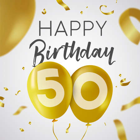 Ilustración de Happy Birthday 50 fifty years, luxury design with gold balloon number and golden confetti decoration. Ideal for party invitation or greeting card. - Imagen libre de derechos