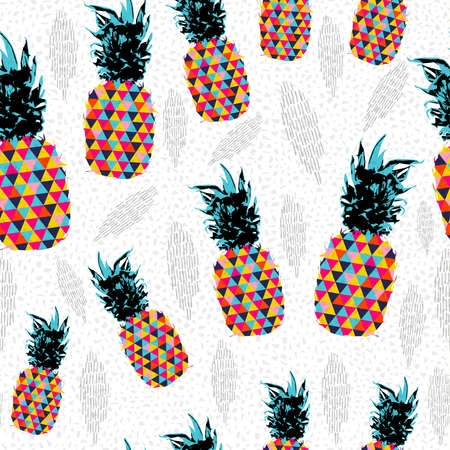 Ilustración de Summer seamless pattern design, pineapple fruit with abstract colorful art ideal for fun fashion print paper or fabric. - Imagen libre de derechos