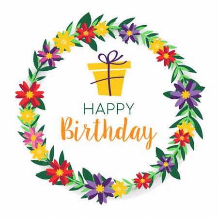 Illustration pour Happy Birthday design with colorful spring flower wreath and gift box background. Ideal for party invitation or greeting card. - image libre de droit