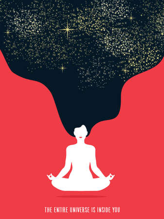 Illustrazione per Girl doing yoga lotus pose exercise. Concept illustration of universe connection and healthy lifestyle. - Immagini Royalty Free