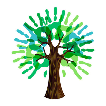 Illustration pour Tree symbol with human hands as green leaves. Concept illustration for organization help, environment project or social work. - image libre de droit