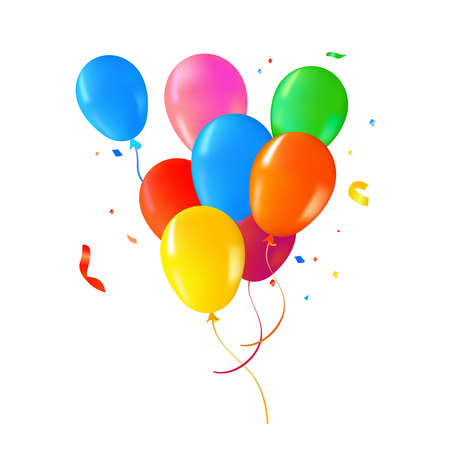 Illustration pour Multi color helium balloons on isolated background. Colorful party decoration ideal for birthday, anniversary or special event. - image libre de droit