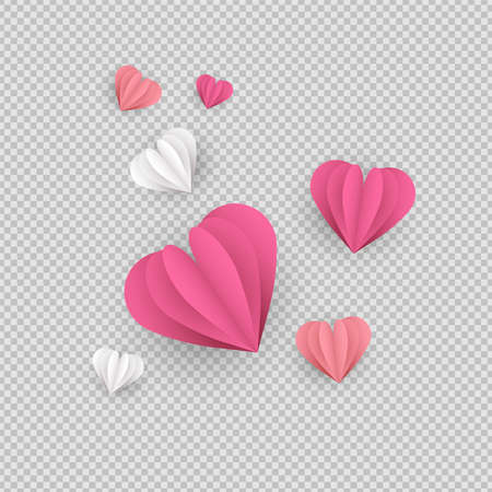Illustration pour Pink papercut hearts on transparent background. Isolated heart shapes made of paper, romantic ornament elements or valentines day decoration. - image libre de droit