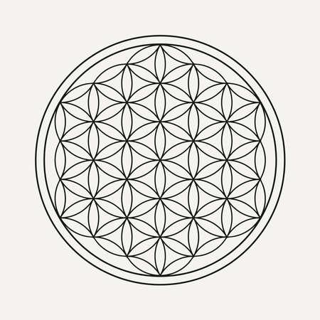 Illustration pour Flower of life mandala in outline style. Zen illustration, yoga background. - image libre de droit