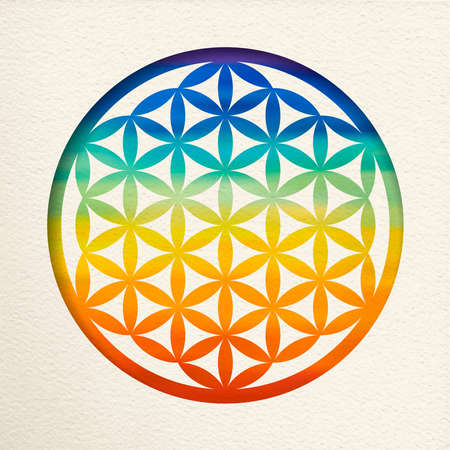 Illustration pour Flower of life mandala in paper cut style with colorful watercolor. Zen illustration, yoga background. - image libre de droit