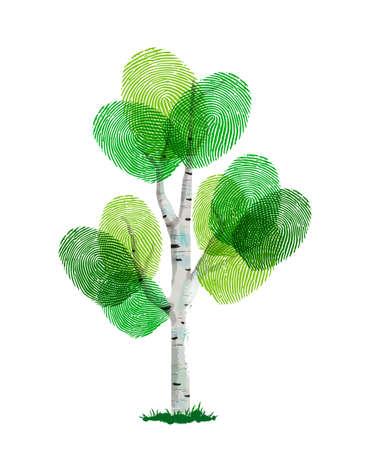Ilustración de Fingerprint tree made of green human finger print. Identity concept, environment help or earth care. - Imagen libre de derechos