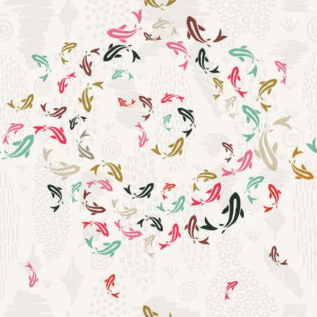 Ilustración de Koi fish seamless pattern, colorful asian style art of carp goldfish swimming in pond. - Imagen libre de derechos
