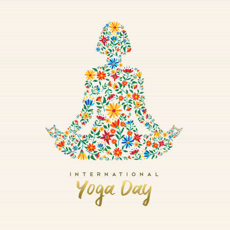 Illustration pour International yoga day design for special event. Girl meditating in lotus pose made of flower decoration, relaxation exercise illustration. - image libre de droit