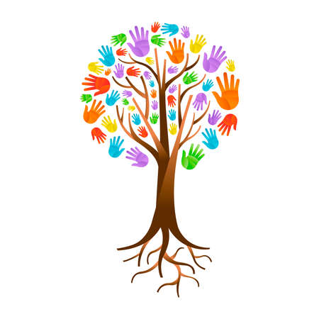 Illustrazione per Tree made of colorful human hands with branches and roots. - Immagini Royalty Free