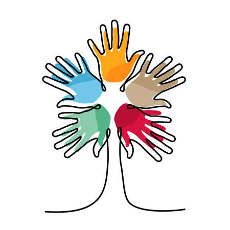 Illustrazione per Tree made of colorful human hands in single continuous line. Concept idea for community help, charity project or cultural event. - Immagini Royalty Free