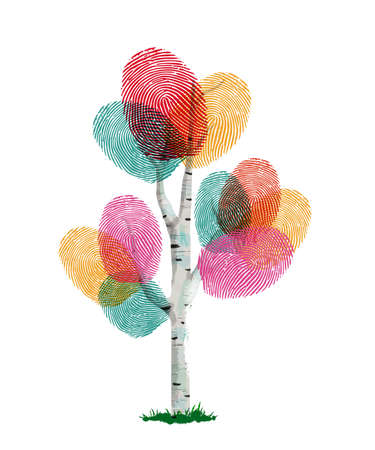 Ilustración de Colorful fingerprint tree made of human finger print. Identity concept, environment help or nature care. - Imagen libre de derechos