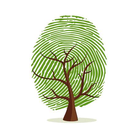 Illustration pour Fingerprint tree. Green human finger print concept for psychology project, identity or personality designs. - image libre de droit