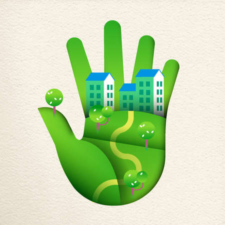 Ilustración de Green human hand in paper cut art style with smart city landscape, concept for environment care or sustainable houses. - Imagen libre de derechos